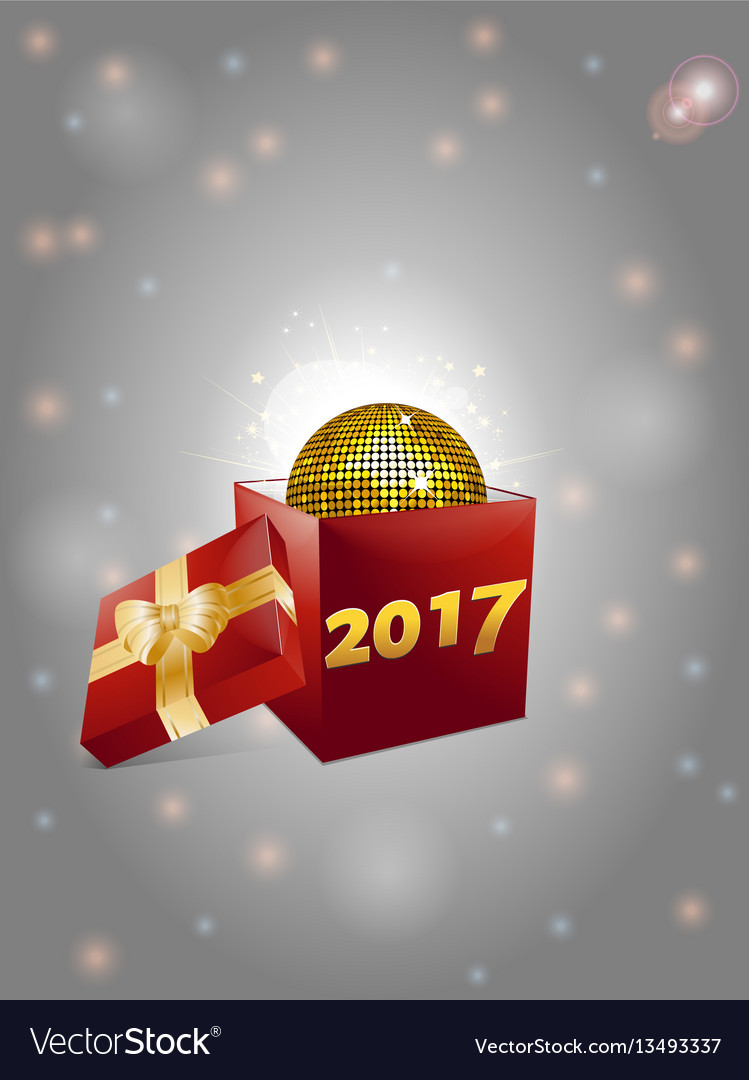 Christmas gift box and disco ball background 2017 vector image