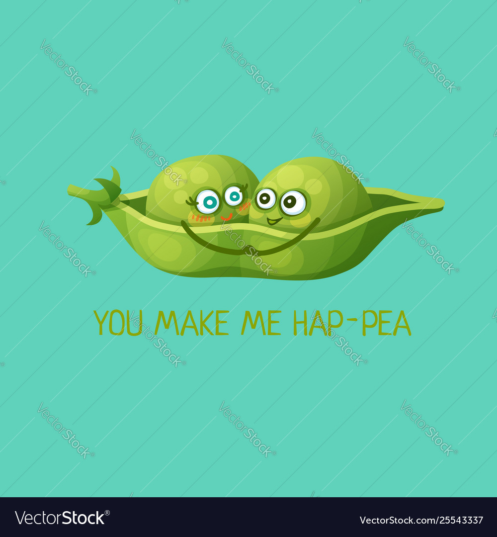 Funny green pea characters in love