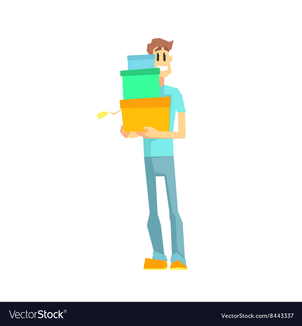 Guy With Three Gift Boxes vector image