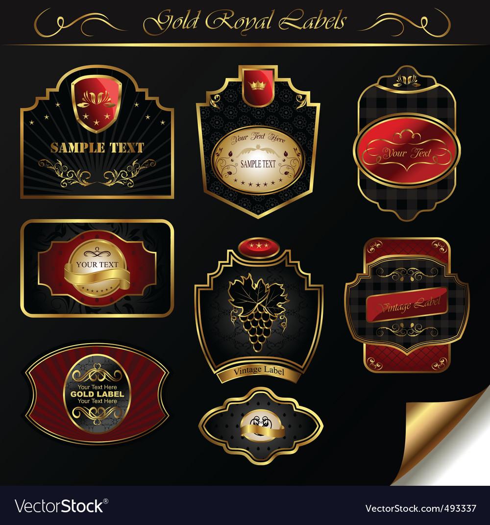 Set black gold framed labels