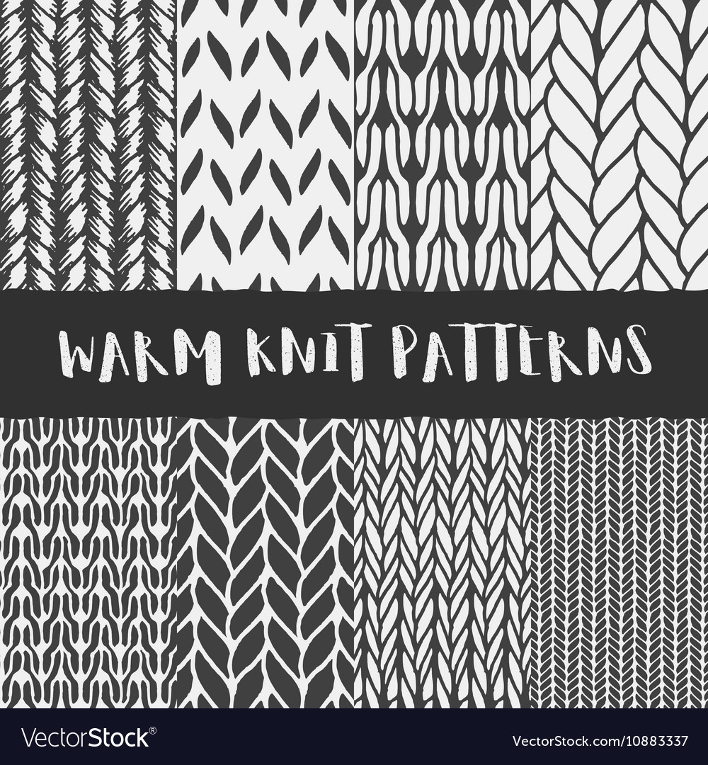 878838b8e Set of 8 decorative knit seamless patterns Vector Image