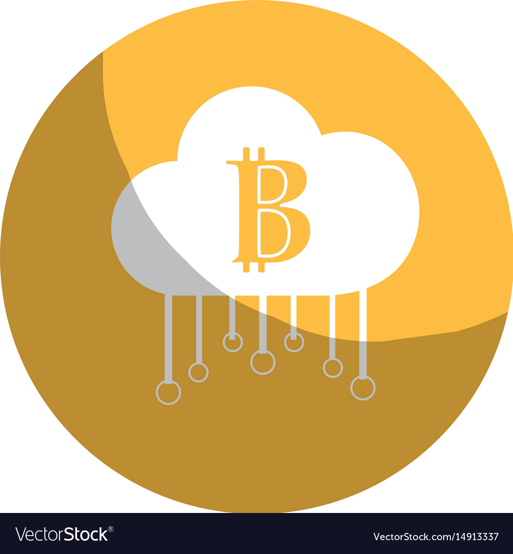 Sticker cloud data center with bicoin symbol vector image