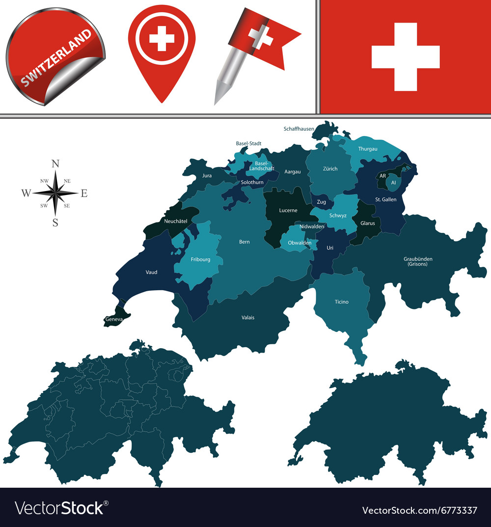 Switzerland map with named divisions