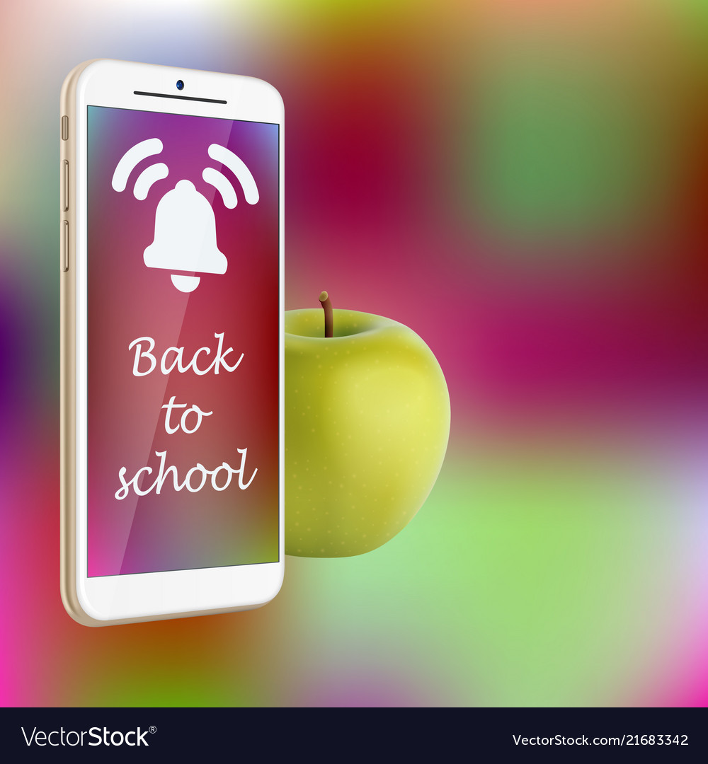 Back to school smartphone green apple vibrant
