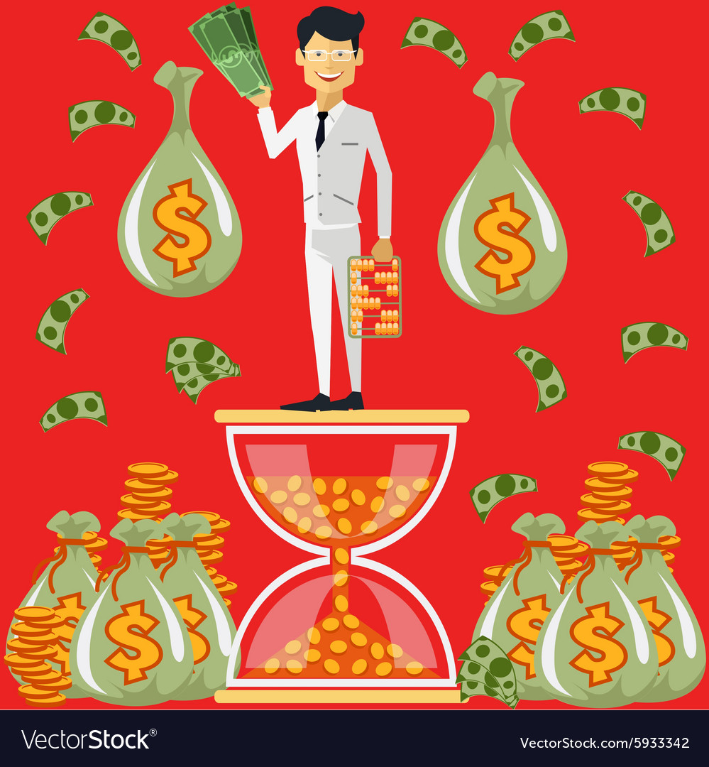 Businessman standing on the hourglass