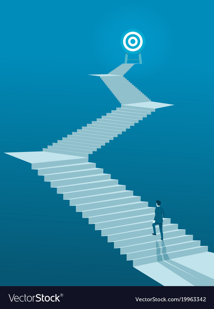 Businessman walking up stairs to goal