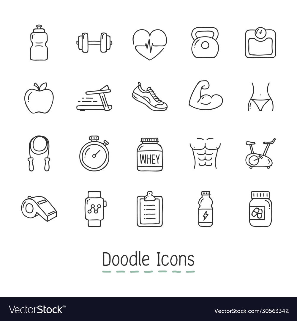 Doodle health and fitness icons