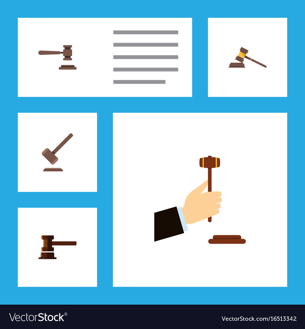 Flat icon lawyer set of legal tribunal court and vector image