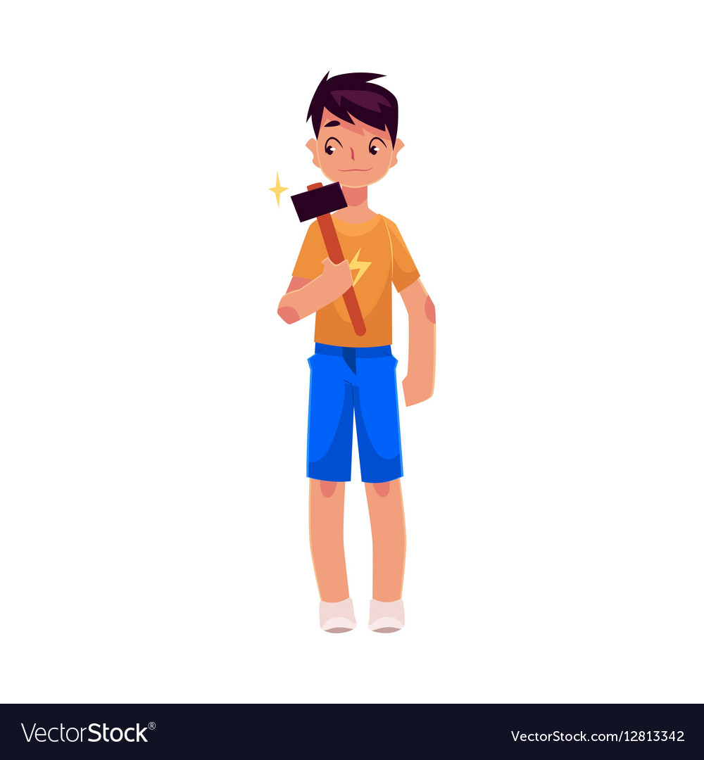 Full length portrait of teenage boy holding a