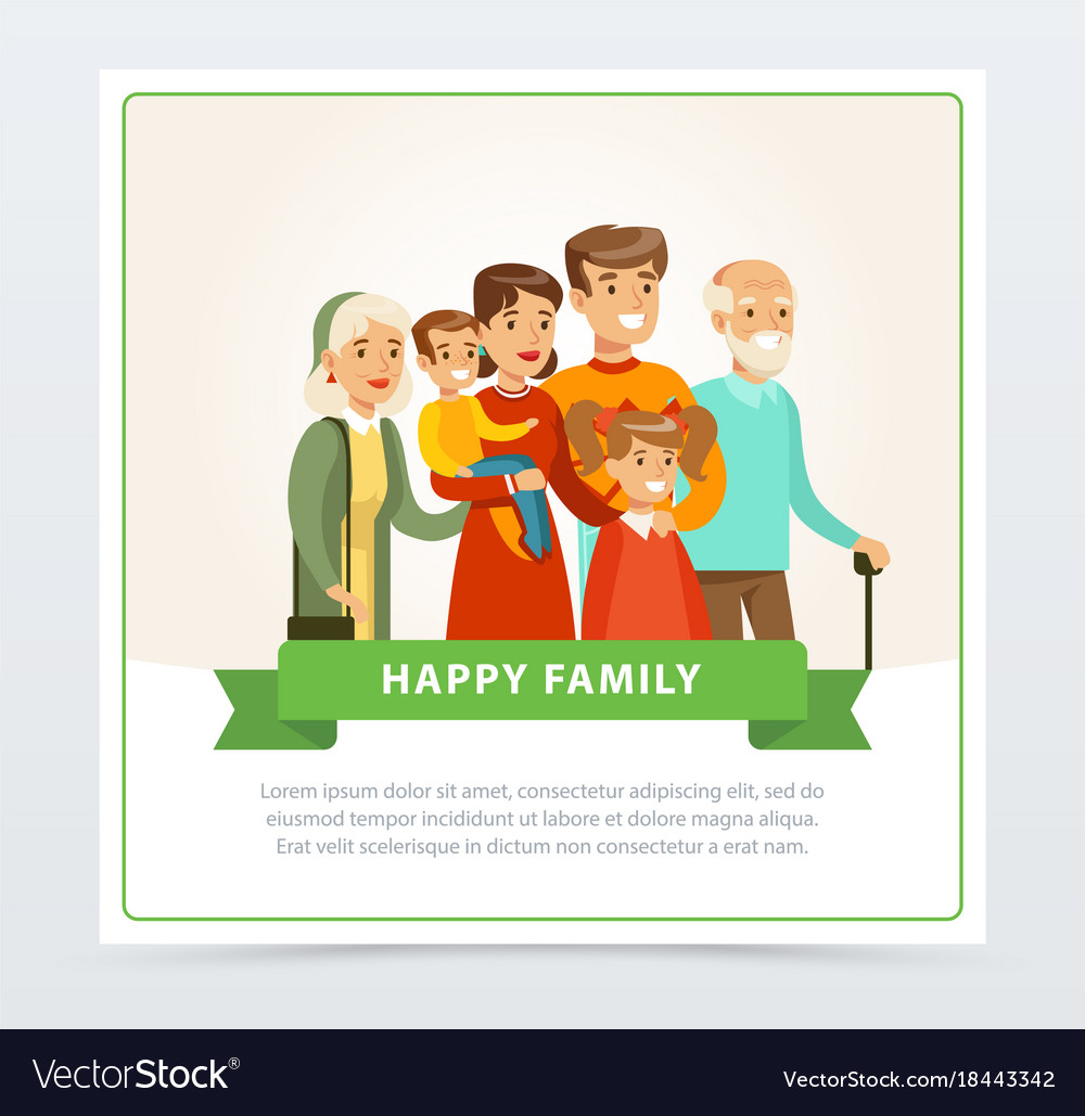 Happy big family flat portrait for card