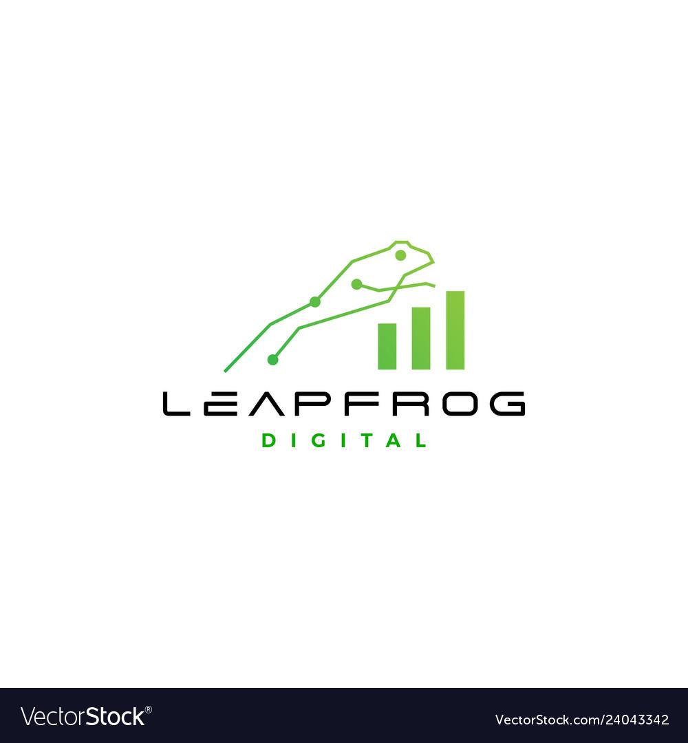 Leap frog tech digital chart statistics logo icon
