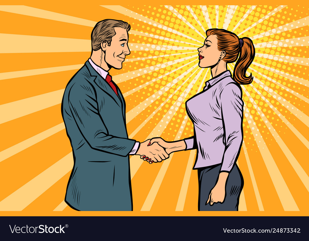 Man and woman businessman handshake