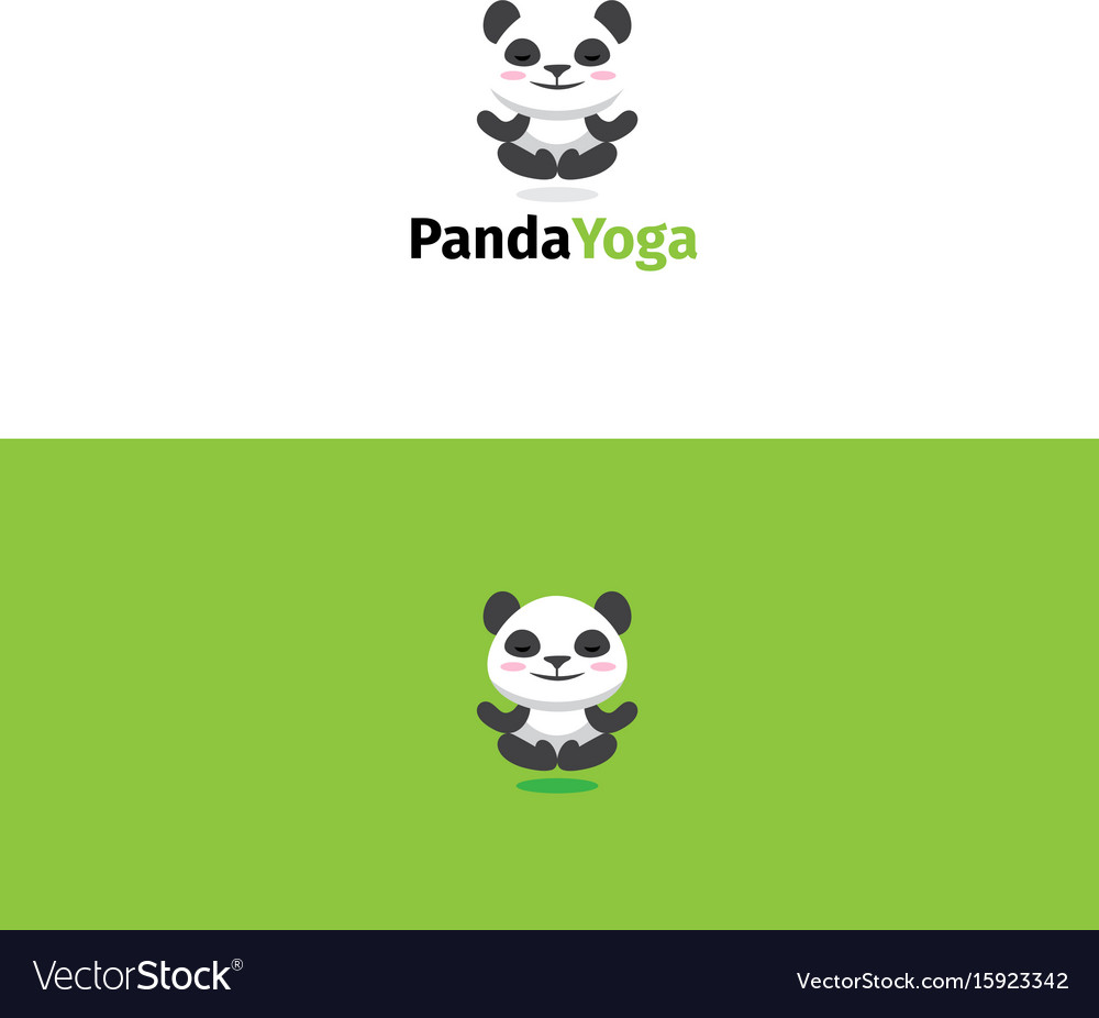 Panda yoga logo meditating panda bear mascot vector image