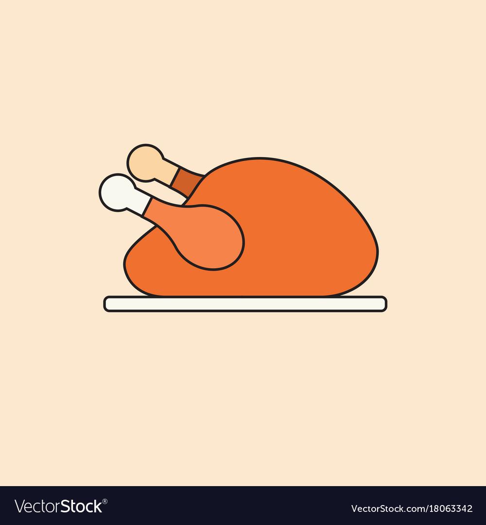 Roasted turkey icon happy thanksgiving day autumn