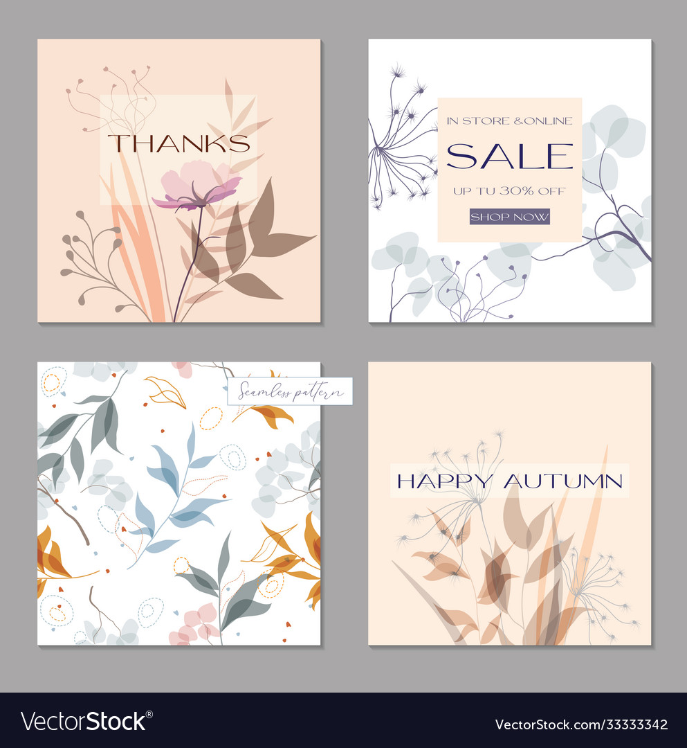 Set trendy abstract square art templates