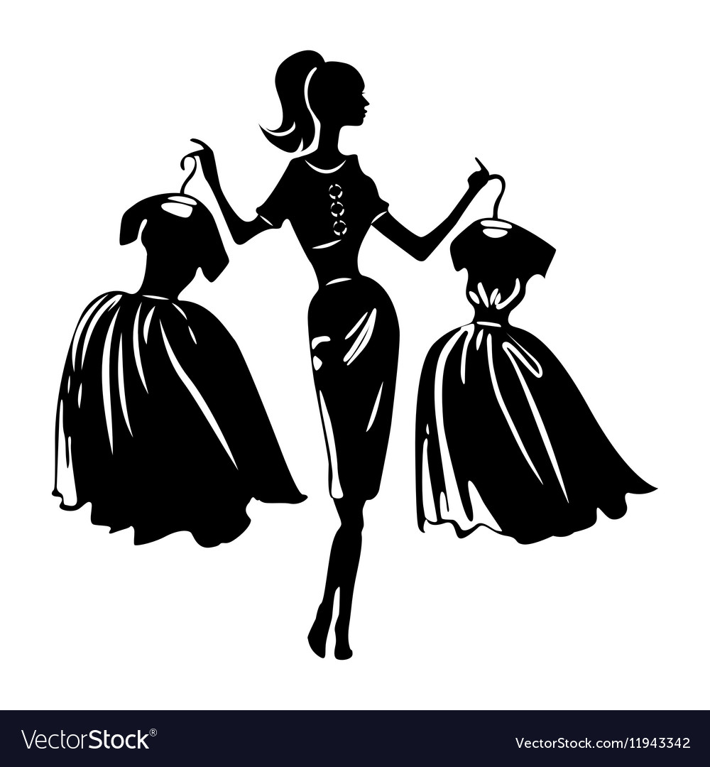 Silhouette of women on white background