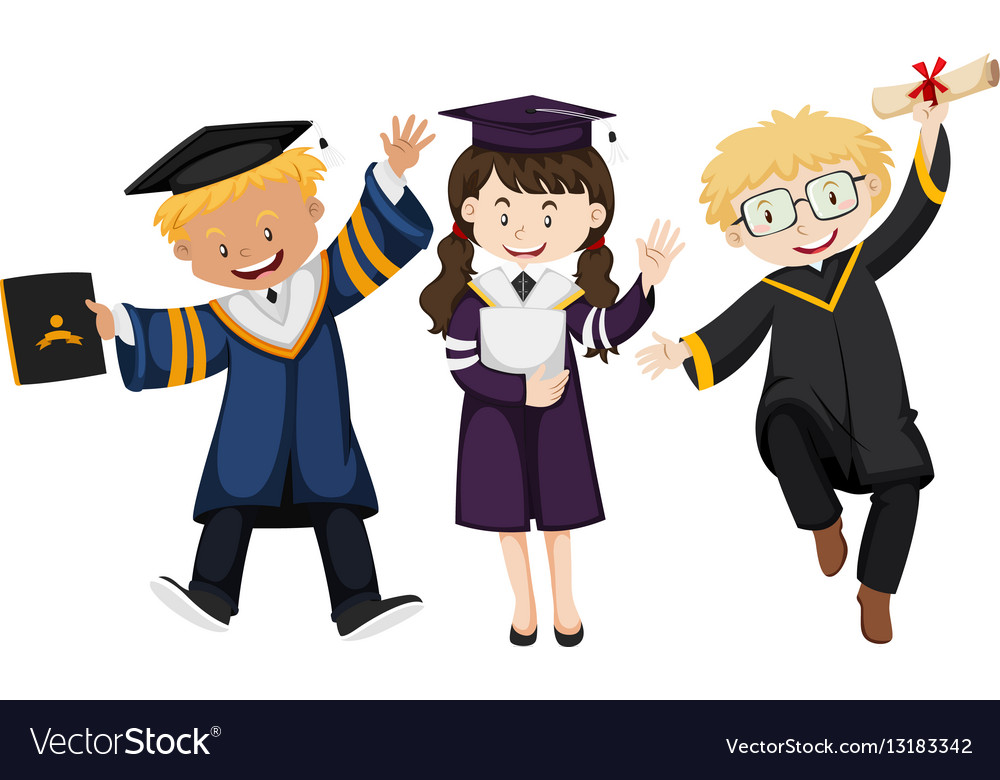 Three people in graduation gown Royalty Free Vector Image