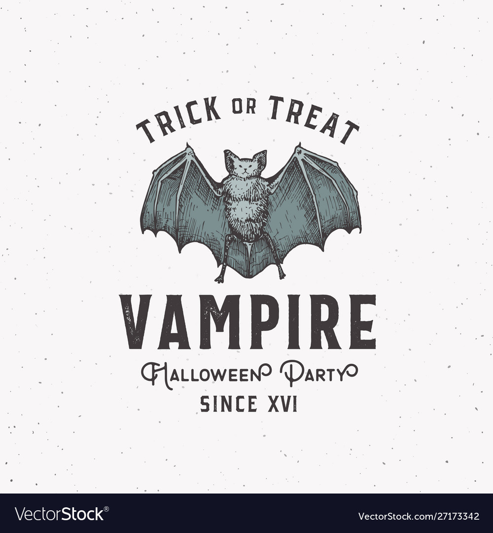 Vampire party vintage style halloween logo or