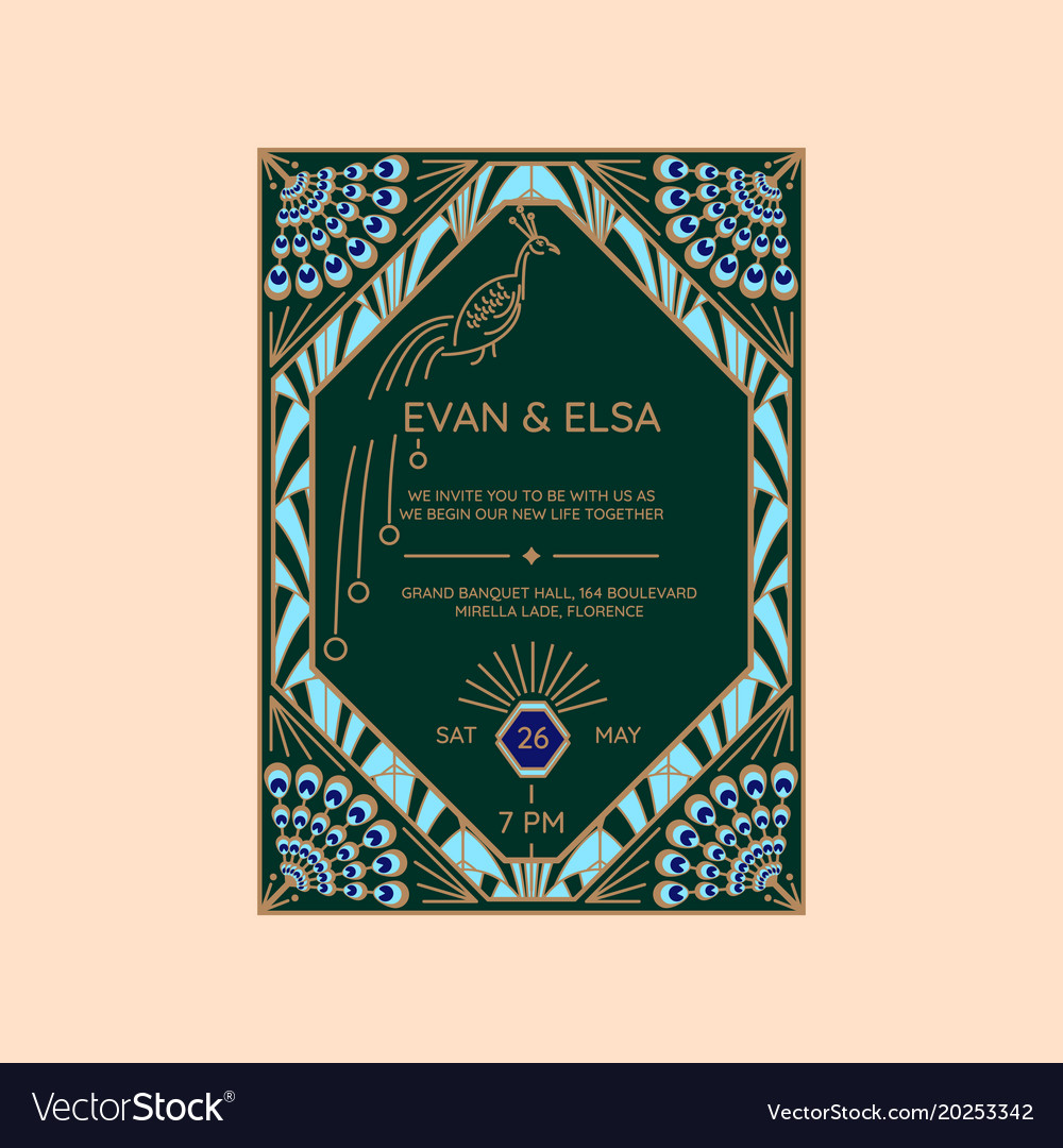 Wedding Invitation Template With Peacock