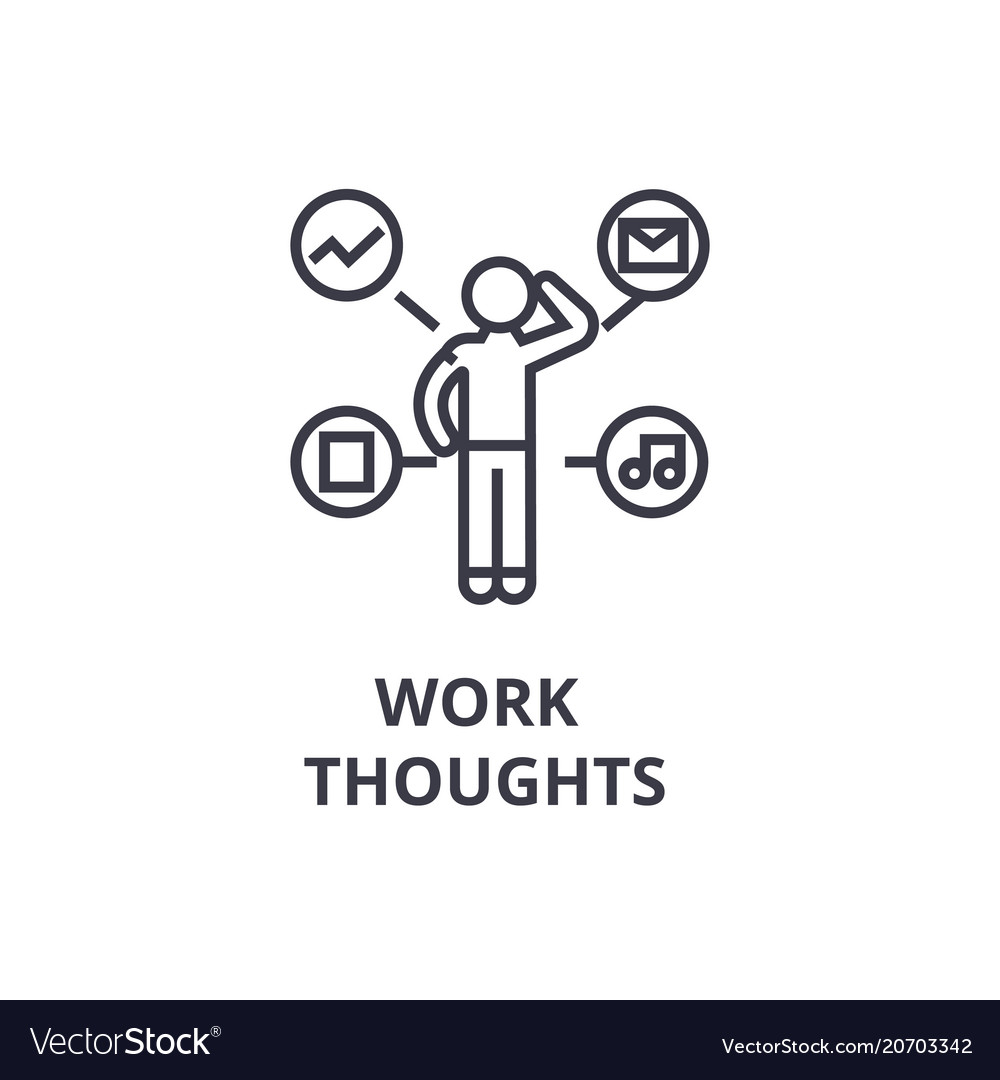 Work thoughts thin line icon sign symbol