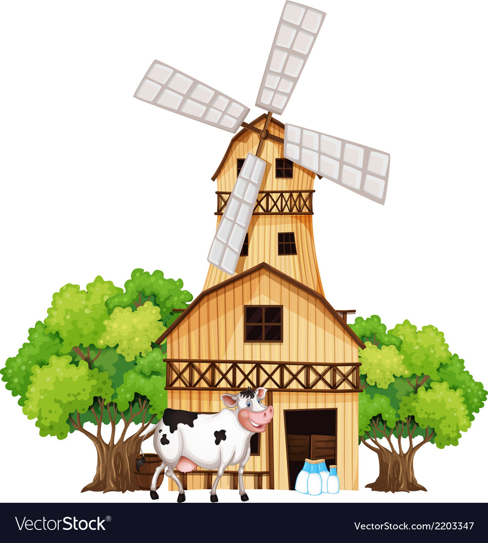 A Milking Cow Outside The Barnhouse Vector Image