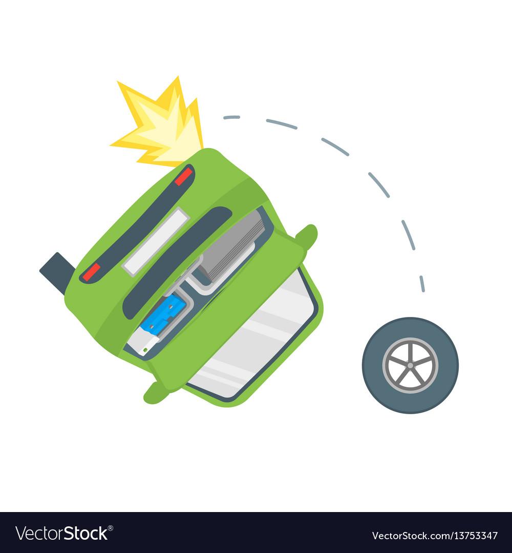 Cartoon car crash road accident