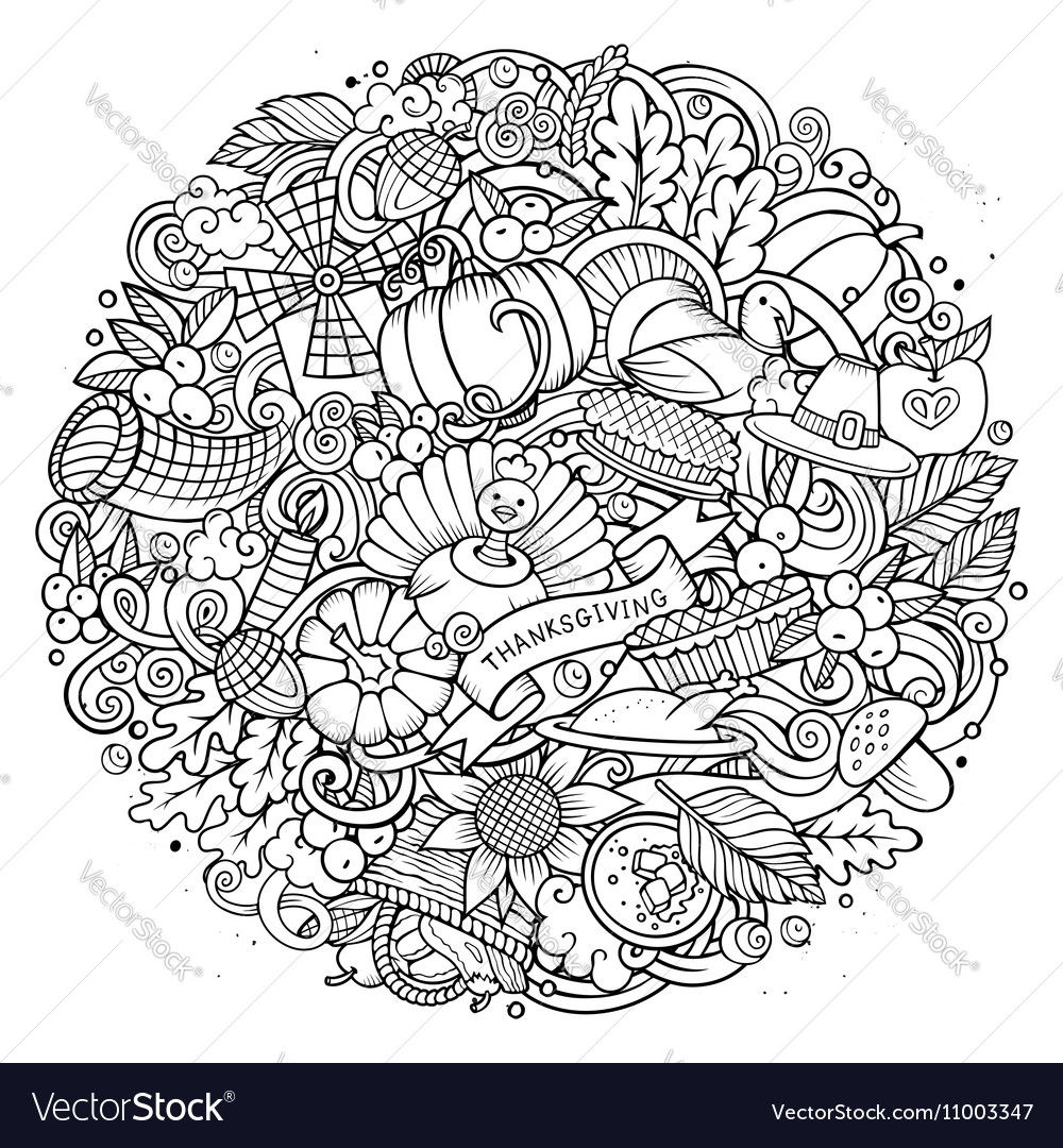Cartoon Doodle Thanksgiving Day circle vector image