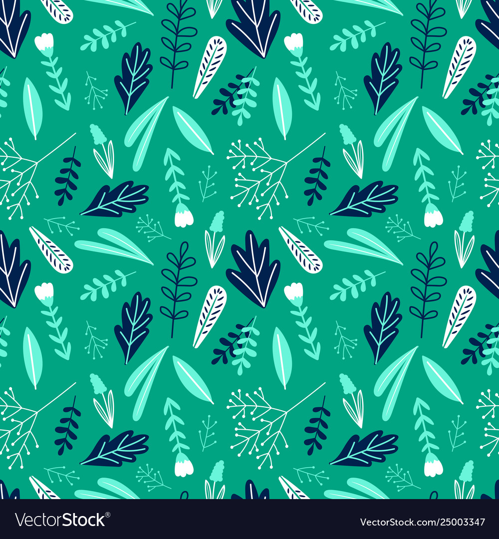 Cartoon floral green seamless pattern