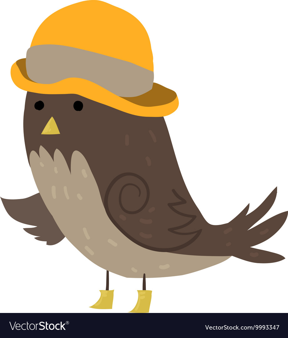 Cartoon sparrow with hat flat icon
