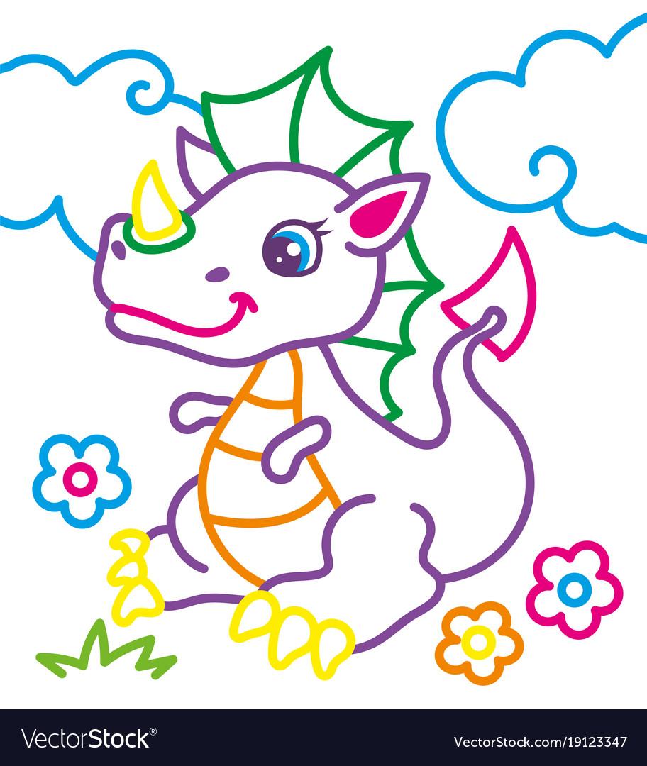 Coloring book of cute dragon