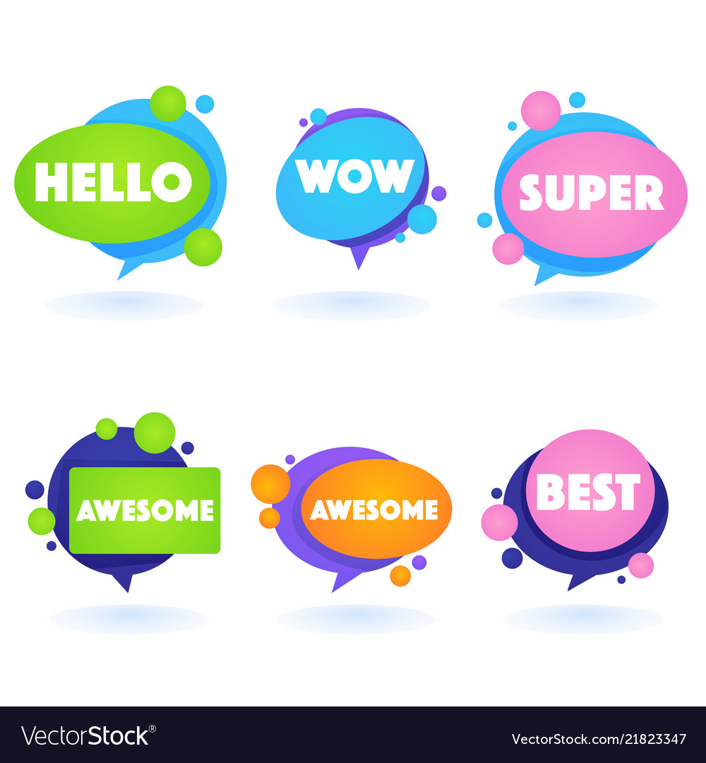 Cute and bright speech bubbles with emotional word