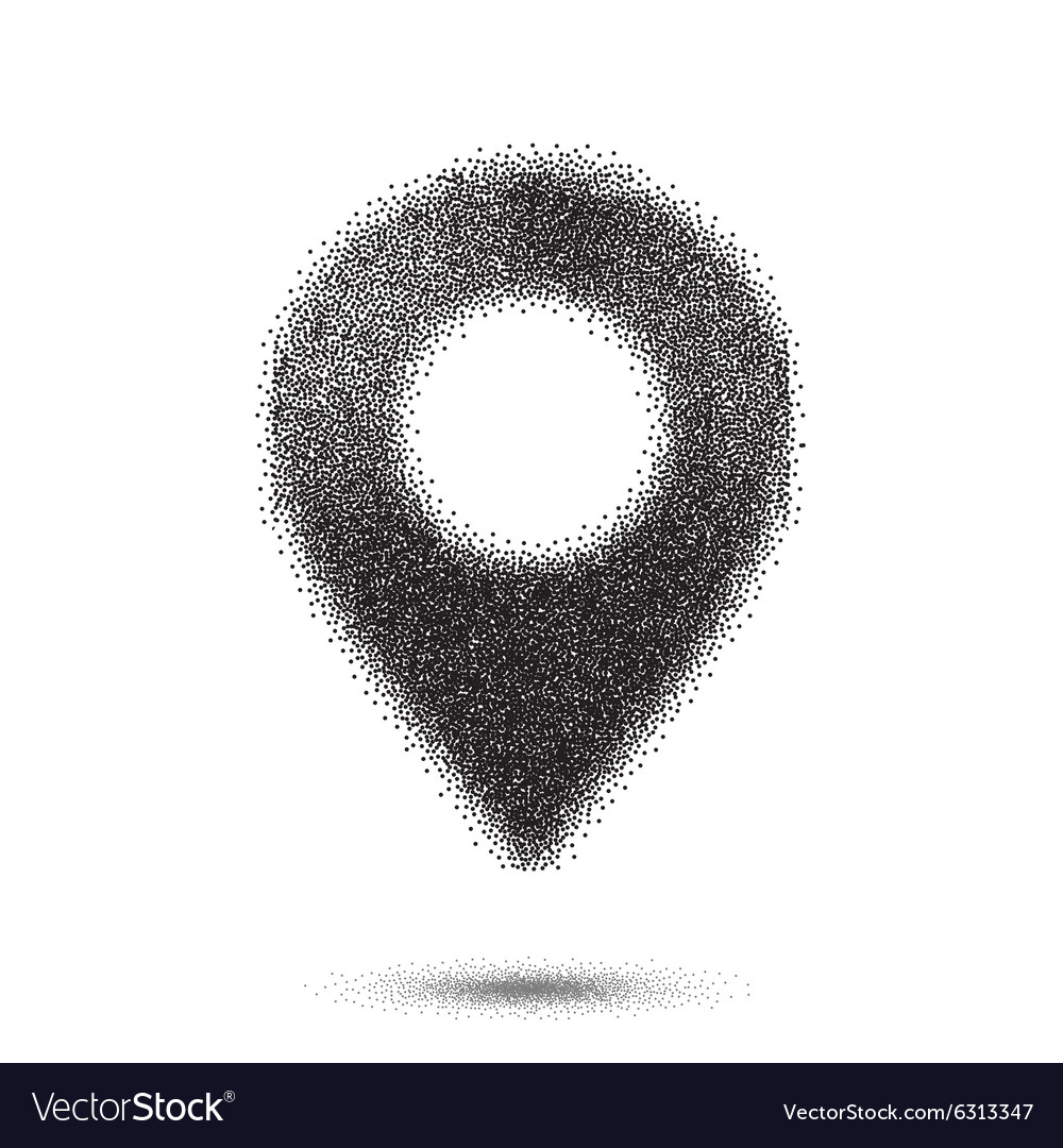 Dotwork Style Map Pointer Halftone Map Pointer vector image