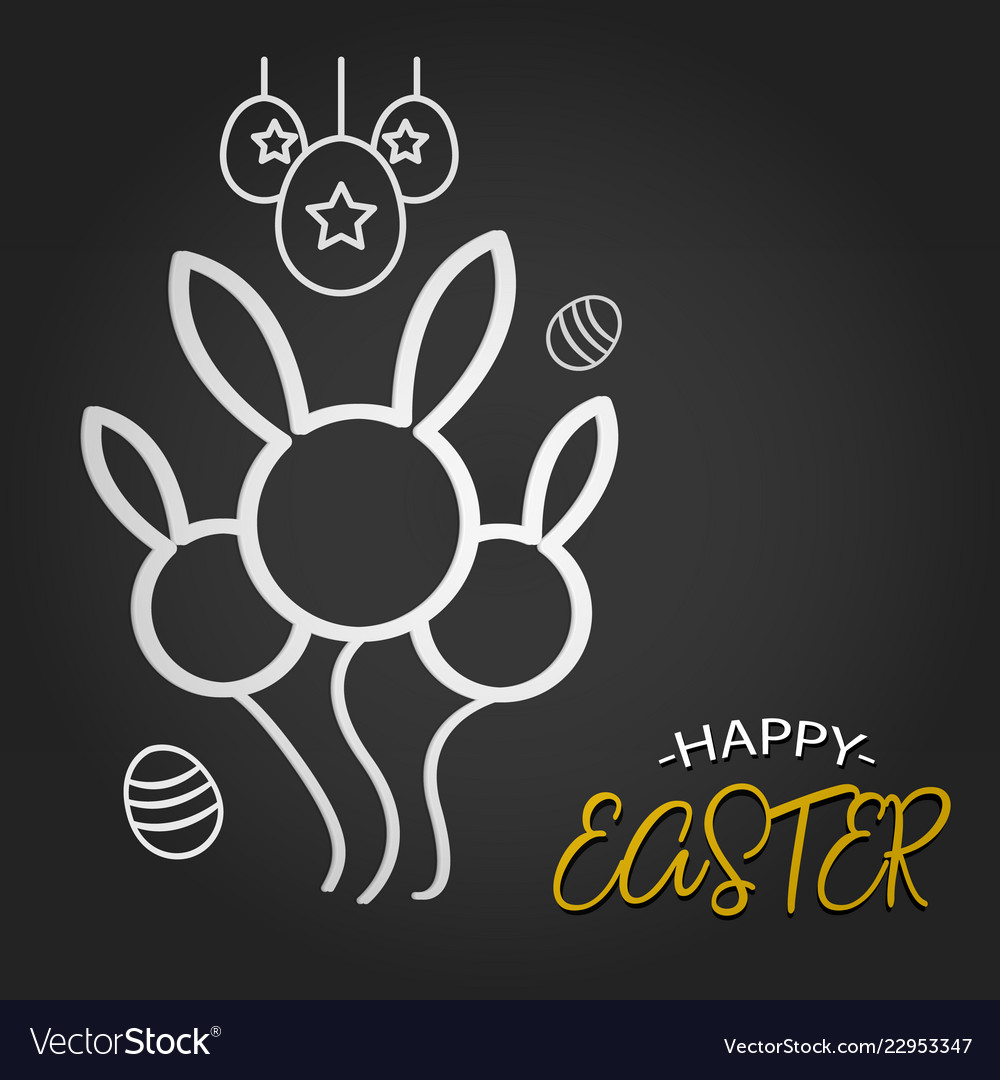 Happy easter template with rabbit balloon shape