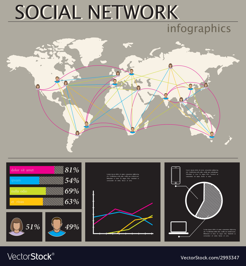 Infographic with world map social network