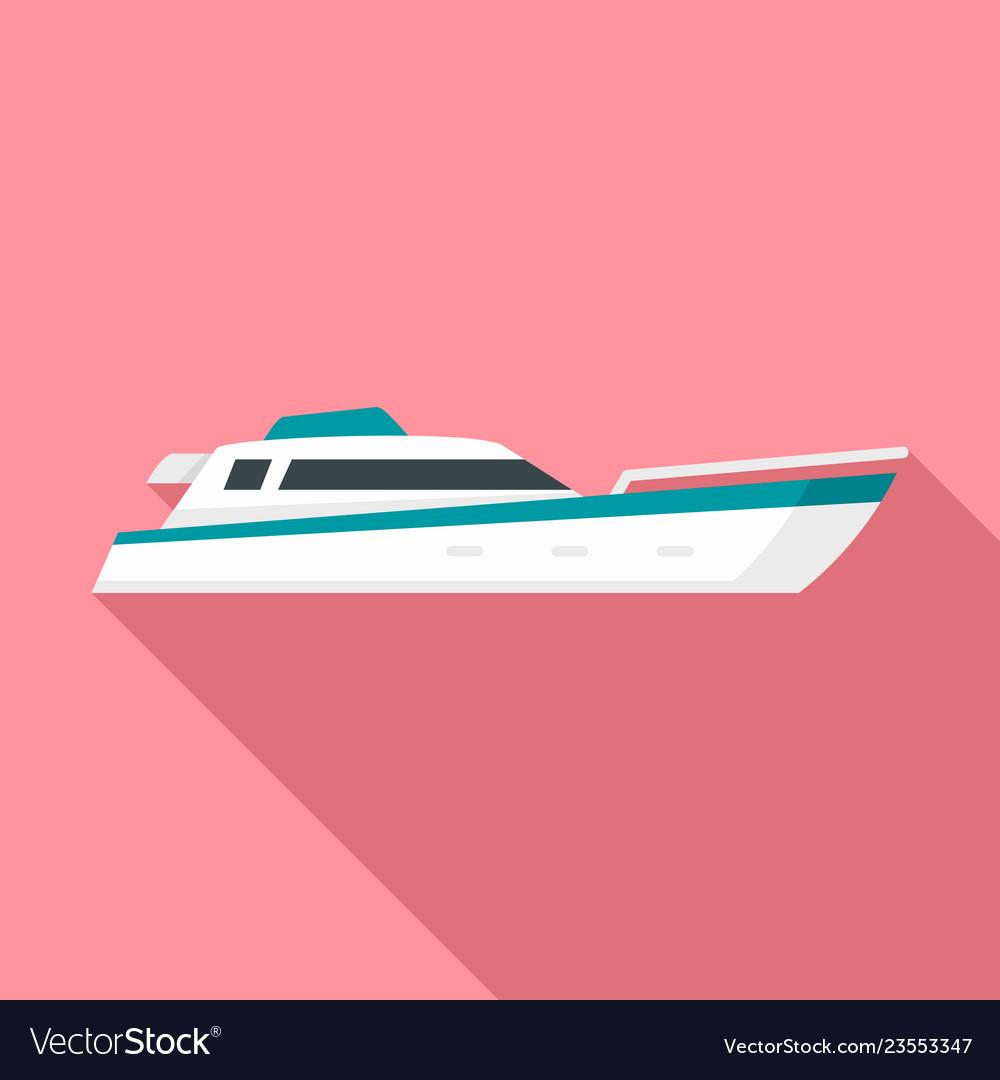 Sea motor ship icon flat style