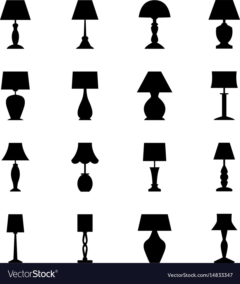 Set of black silhouettes of lamps vector image