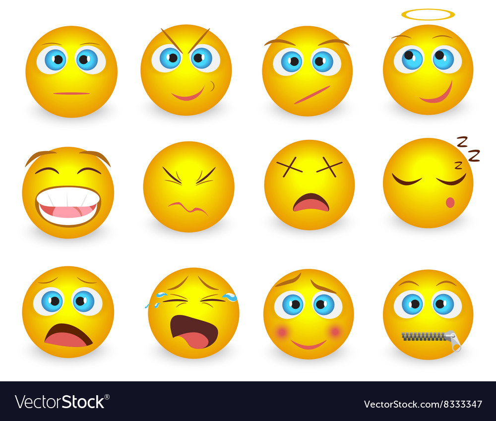 Set of Emoji face emotion icons isolated