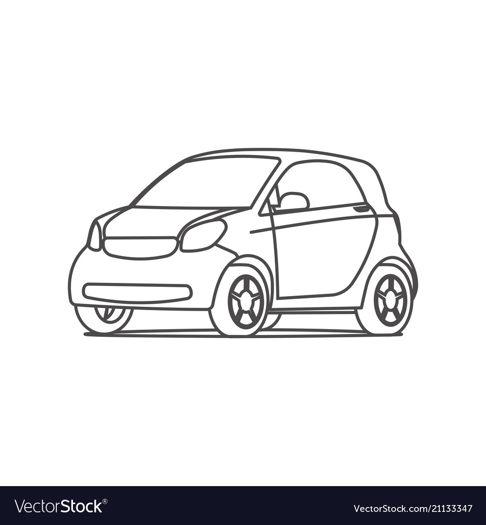 Small hatchback compact car line icon