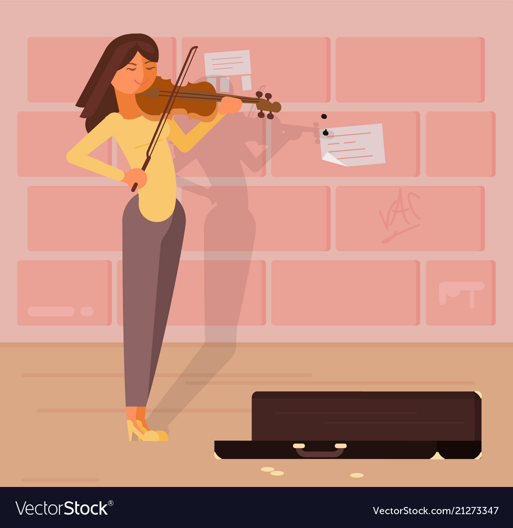Street musician with violin