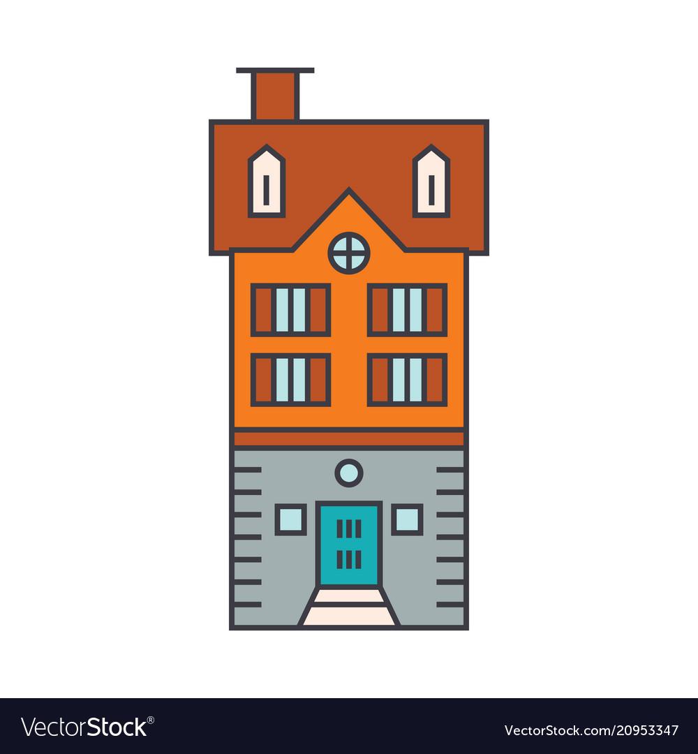 Townhouse village line icon concept townhouse
