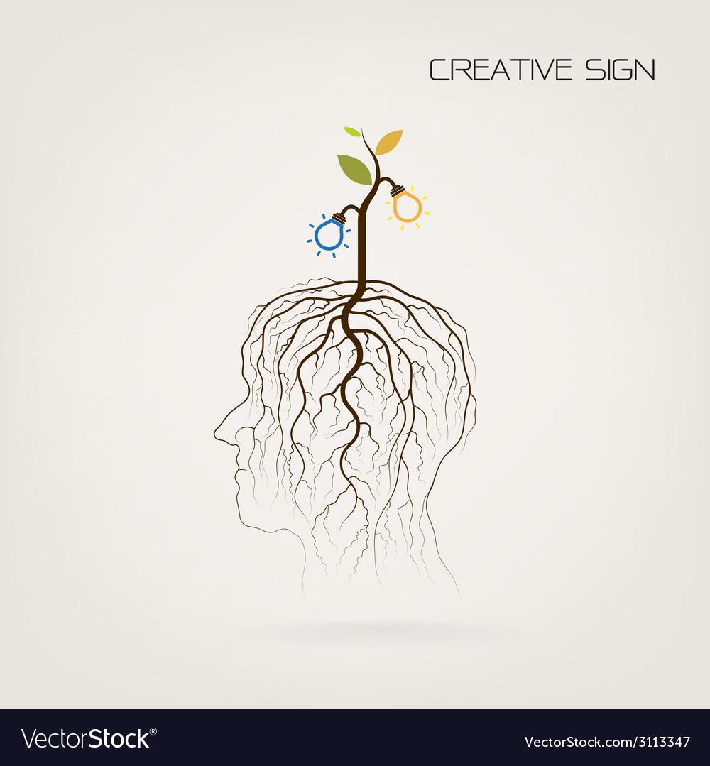 Tree Of Knowledge Shoot Grow On Human Head Symbol Vector Image