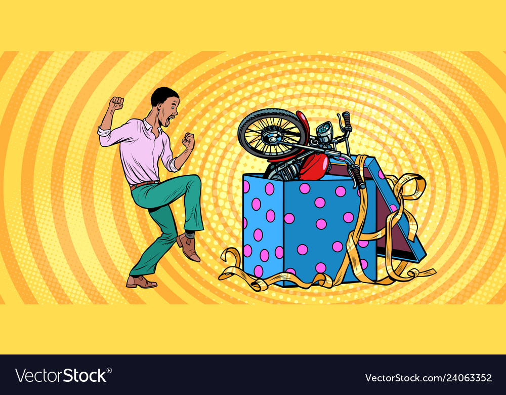 African man and motorcycle holiday gift box funny