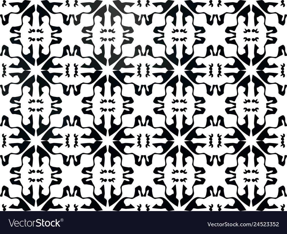 Black and white floral ornament for ceramic tiles