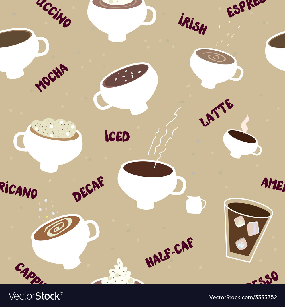Coffee seamless pattern of different kinds