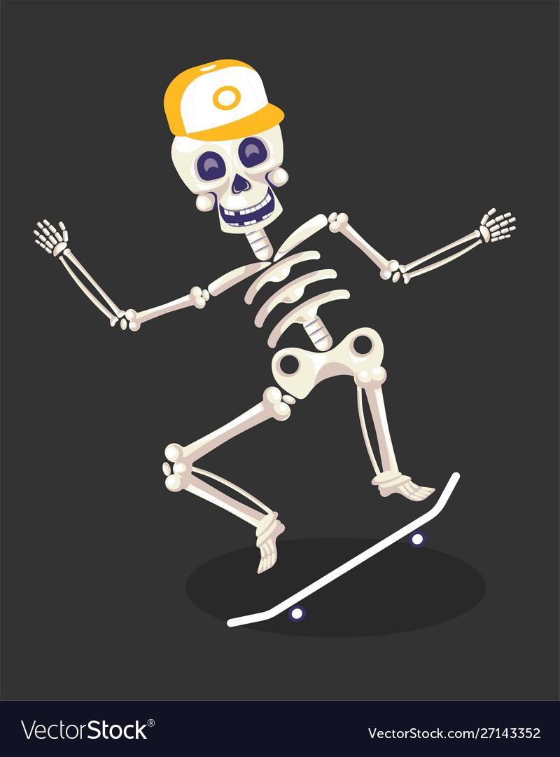 Day dead skeleton in cap riding skateboard