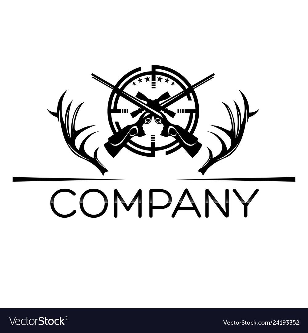 Deer horns trophy logo