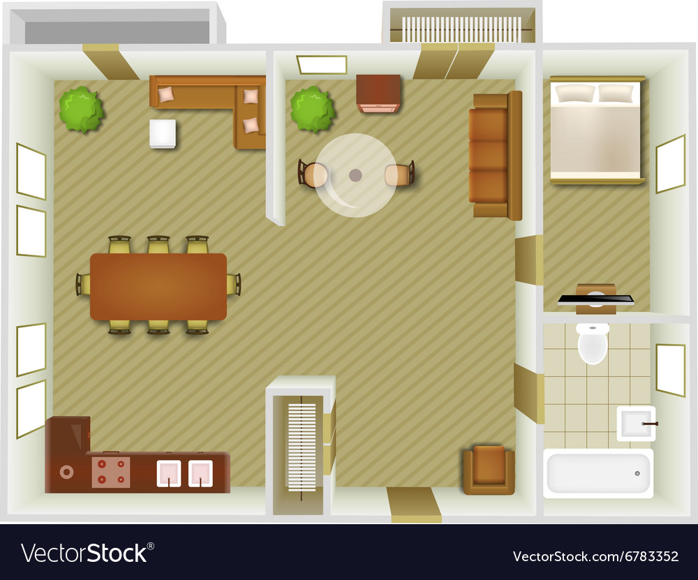 Interior Top View Royalty Free Vector Image Vectorstock