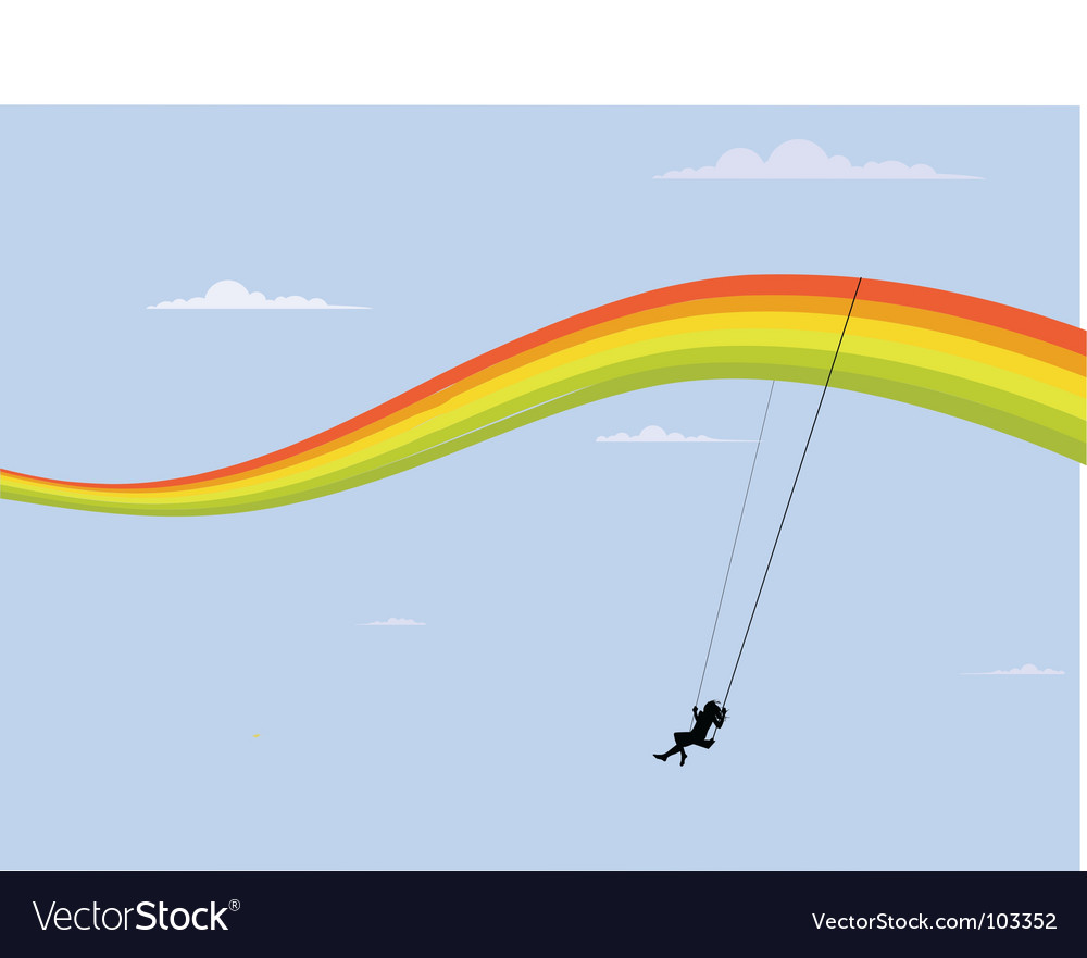 Rainbow swing vector image