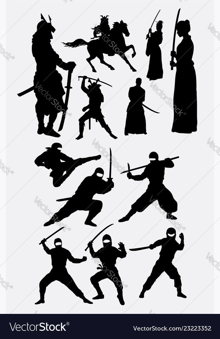 Samurai and ninja japanese warrior silhouettes
