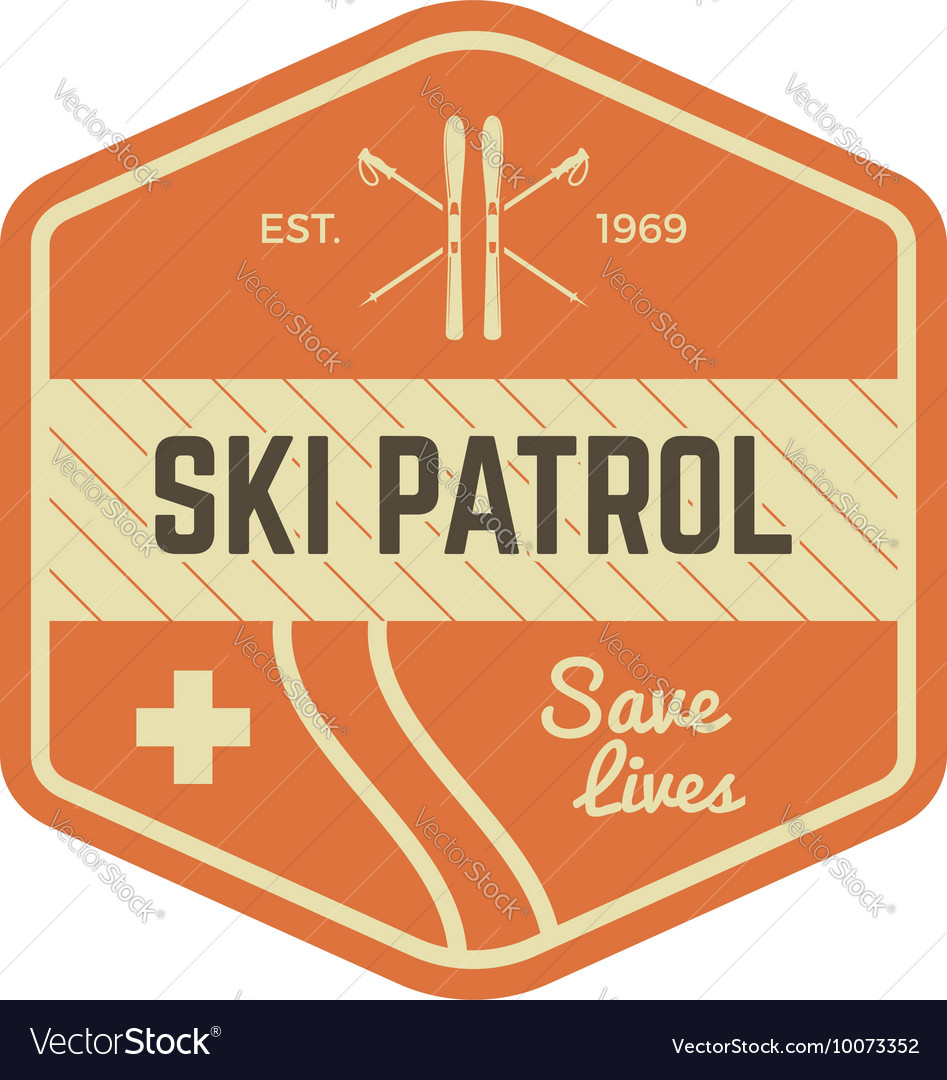 Ski patrol patch Vintage outdoor design with vector image
